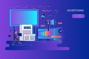 Flache Linie Konzept-Netzfahne der modernen Steigung der Werbung und der Werbung mit verziertem Zeichen der kleinen Leute. Zielseitenvorlage