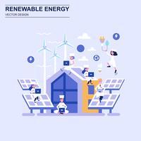 Flache Design-Konzept-blaue Art der erneuerbaren Energie mit verziertem Zeichen der kleinen Leute.