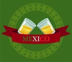 mexikanische Tequilabecher trinken im Bandrahmen ribbon vektor