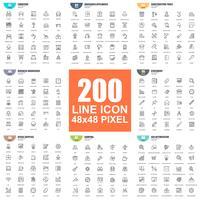 Einfacher Satz dünne Linie Ikonen des Vektors. Lineares Piktogramm-Paket. 48x48 Pixel Perfekt.