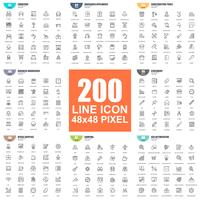 Enkel uppsättning vektor tunna linje ikoner. Linjärt piktogrampaket. 48x48 Pixel Perfect.