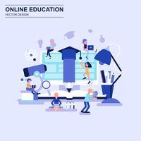 Blaue Art des flachen Designs der Online-Bildung mit verziertem Zeichen der kleinen Leute. vektor