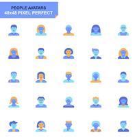 Simple Set People Avatar Flat Ikoner för Webbsida och Mobila Apps