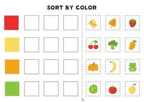 Sortieren nach Farbe Lernspiel zum Erlernen von Primärfarben vektor