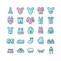 Babykleidung Icon Set Vektor flache Linie für Website Mobile App Präsentation Social Media geeignet für Benutzeroberfläche und Benutzererfahrung