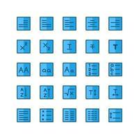 Texteditor-Icon-Set Vektor flache Linie für die Präsentation von mobilen Apps auf der Website sozialer Medien, die für Benutzeroberfläche und Benutzererfahrung geeignet sind