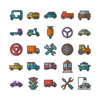 Automobil-Icon-Set Vektor flache Linie für die Präsentation der mobilen App der Website in sozialen Medien, die für Benutzeroberfläche und Benutzererfahrung geeignet sind