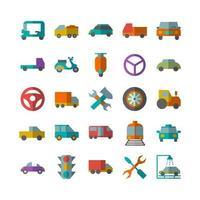 Automobil Icon Set Vektor flach für Website Mobile App Präsentation Social Media geeignet für Benutzeroberfläche und Benutzererfahrung