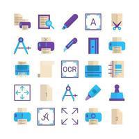 Drucken Icon Set Vektor flach für Website Mobile App Präsentation Social Media geeignet für Benutzeroberfläche und Benutzererfahrung