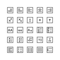 Texteditor-Icon-Set-Vektorlinie für die Präsentation von mobilen Apps auf der Website sozialer Medien, die für Benutzeroberfläche und Benutzererfahrung geeignet sind vektor