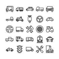 Automobil-Icon-Set Vektorlinie für die Präsentation der mobilen App der Website in sozialen Medien, die für Benutzeroberfläche und Benutzererfahrung geeignet sind vektor