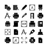 Druck-Icon-Set Vektor solide für die Präsentation der mobilen App der Website in sozialen Medien, die für Benutzeroberfläche und Benutzererfahrung geeignet sind