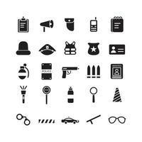 Polizei-Icon-Set Vektor solide für Website Mobile App Präsentation Social Media geeignet für Benutzeroberfläche und Benutzererfahrung