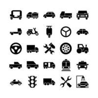 Automobil-Icon-Set Vektor solide für die Präsentation der mobilen App auf der Website soziale Medien geeignet für Benutzeroberfläche und Benutzererfahrung