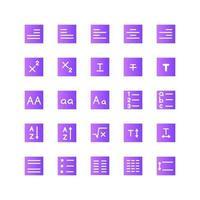Texteditor-Icon-Set-Vektor-Gradient für die Präsentation der mobilen App der Website in sozialen Medien, die für Benutzeroberfläche und Benutzererfahrung geeignet sind vektor