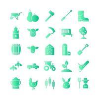 Farm-Icon-Set Vektor-Gradient für die Präsentation der mobilen App der Website in sozialen Medien, die für Benutzeroberfläche und Benutzererfahrung geeignet sind vektor