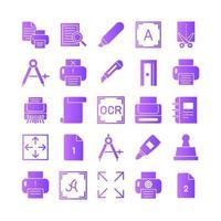 Druck-Icon-Set Vektor-Gradient für die Präsentation der mobilen App der Website in sozialen Medien, die für Benutzeroberfläche und Benutzererfahrung geeignet sind vektor