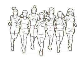 Gruppe von Marathonläuferinnen beim Laufen vektor