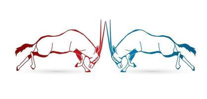 Umrisse Oryx springt zum Angriff vektor
