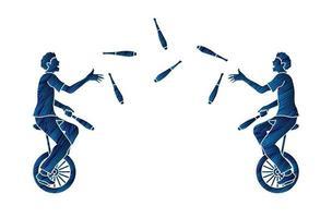 Leute zeigen Jongliernadeln beim Radfahren vektor