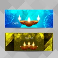 Abstrakt Glad Diwali dekorativa banderoller uppsättning vektor