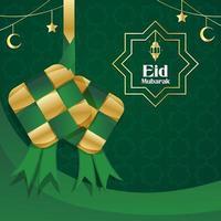 Feiern von Eid mit Ketupat-Hintergrund vektor