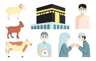 eid al adha und hajj-icon-set vektor