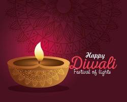 glückliche diwali diya Kerze mit Mandala auf rotem Hintergrundvektorentwurf vektor