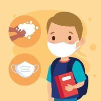 neue normale Schule des Jungenkindes mit Maske, Buch und Händewaschvektordesign vektor