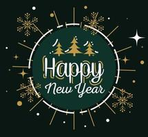 Frohes neues Jahr mit Kiefern im Siegelstempel und Schneeflocken-Vektordesign vektor
