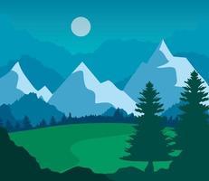 Landschaftsnatur mit Rasen, Kiefern und Bergen vektor