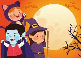 süße kleine Kinder verkleidet als Katze und Hexe mit Vampir in der Mondszene vektor