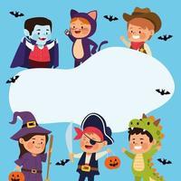 süße kleine Kinder, die als andere Charaktere und Fledermäuse verkleidet sind vektor