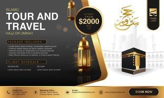 Islamische Ramadan Hajj Umrah Broschüre oder Flyer Vorlage Hintergrund Vektordesign mit betenden Händen und Mekka Illustration in 3D realistischem Design vektor