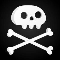 Einfache flache Design Schädel mit gekreuzten Knochen Symbol Zeichen Vektor Illustration isoliert auf schwarzem Hintergrund menschlicher Teil Kopf Jolly Roger Piratenflagge Symbol oder Halloween Element der gruseligen Dekoration