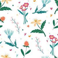 nahtloses Muster mit Wildblumen vektor