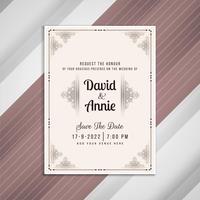 Abstraktes schönes Hochzeitseinladungs-Karten-Design vektor