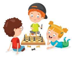 Zeichentrickfigur beim Schachspiel vektor
