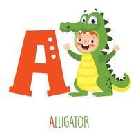 Charakter im Tierkostüm, das Alphabetbuchstaben zeigt vektor