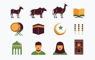 Reihe von bunten Symbolen eid el adha vektor