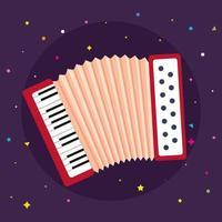 Akkordeoninstrument Musical in lila Hintergrund vektor
