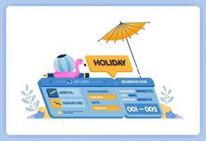 Vektor-Illustration von Urlaubsflugtickets zur Insel Bali mit Abfahrten in Jakarta vektor