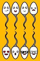 Vektor-Illustration von niedlichen Spermien-Set-Design in Zeichentrickfigur vektor