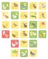 Vektor isoliert Zoo Alphabet Cartoon Tiere Bildung Karten Alpaka Bär Kuh Hirsch Elefant Fuchs Ziege Pferd Leguan Qualle Känguru Luchs Elch Krake Schwein Quokka Kaninchen Schaf Schildkröte Einhorn Fledermaus mo