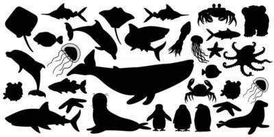 große reihe von vektor silhouette cartoon isoliert meer ozean norden tiere wal delfin hai stachelrochen quallen fisch sterne krabbe könig pinguin küken krake pelzrobbe eisbärjunges auf weiß