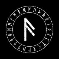 schwarzer quadratischer Hintergrund mit Ansuz-Rune in einem magischen Kreis vektor