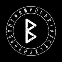 schwarzer quadratischer Hintergrund mit Rune Berkana in einem magischen Kreis vektor