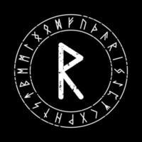 schwarzer quadratischer Hintergrund mit der Rune Raidho im magischen Kreis vektor