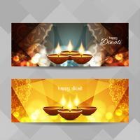 Abstrakte glückliche Diwali-Fahnen eingestellt