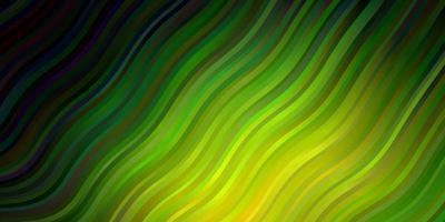 dunkelblaue grüne Vektorvorlage mit geschwungenen Linien helle Illustration mit Gradienten-Kreisbogenmuster für Geschäftsbroschüren-Broschüren vektor